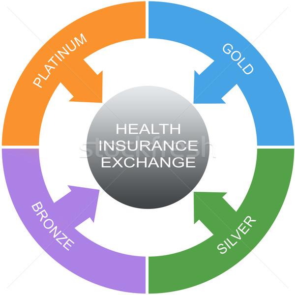 Seguro de saúde troca palavra círculos prata Foto stock © mybaitshop