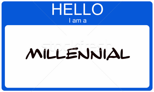 Hello I am a Millennial blue name tag concept Stock photo © mybaitshop