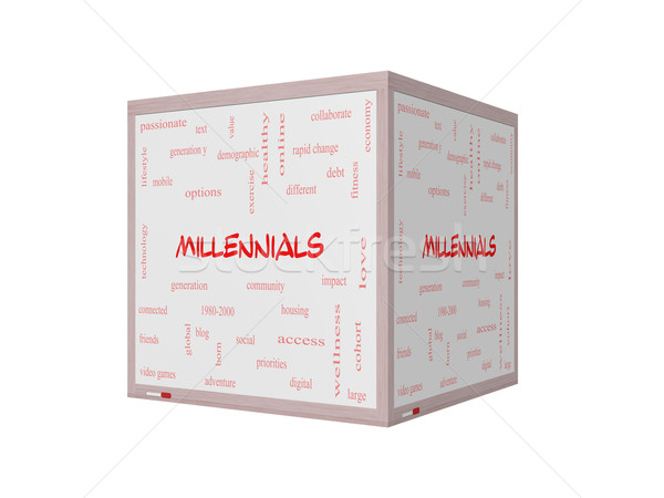 Millennials Word Cloud Concept on a 3D Whiteboard Stock photo © mybaitshop