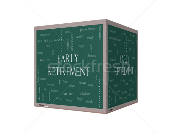 Early Retirement Word Cloud Concept on a 3D Blackboard Stock photo © mybaitshop