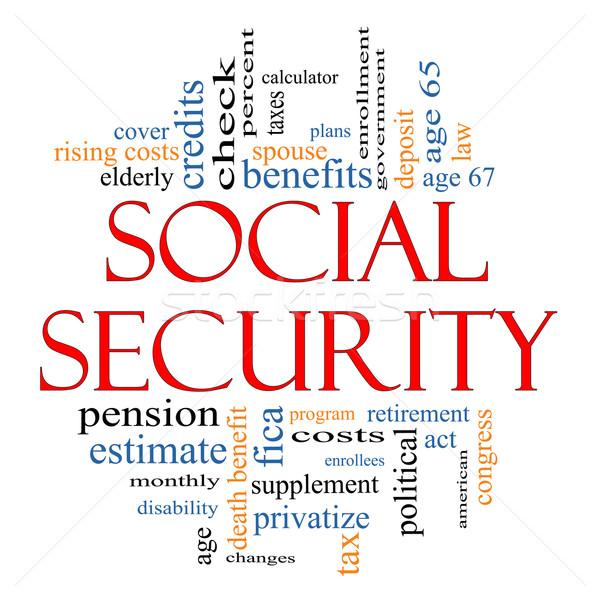 Társadalombiztosítás szófelhő nagyszerű kor nyugdíj kormány Stock fotó © mybaitshop