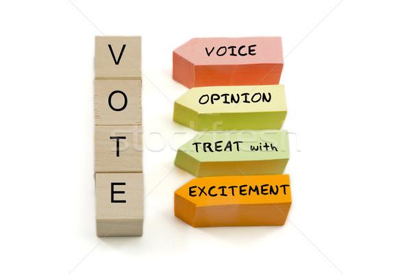 Votar excitação blocos fora papel palavras Foto stock © mybaitshop