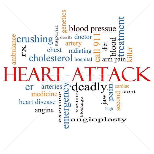 Hartaanval woordwolk groot hartziekte rx slagader Stockfoto © mybaitshop