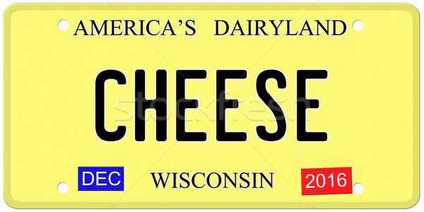 Fromages Wisconsin imitation plaque d'immatriculation décembre 2016 Photo stock © mybaitshop