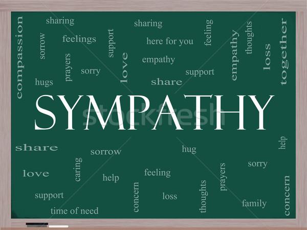 Sympathie woordwolk Blackboard groot verdriet gevoelens Stockfoto © mybaitshop