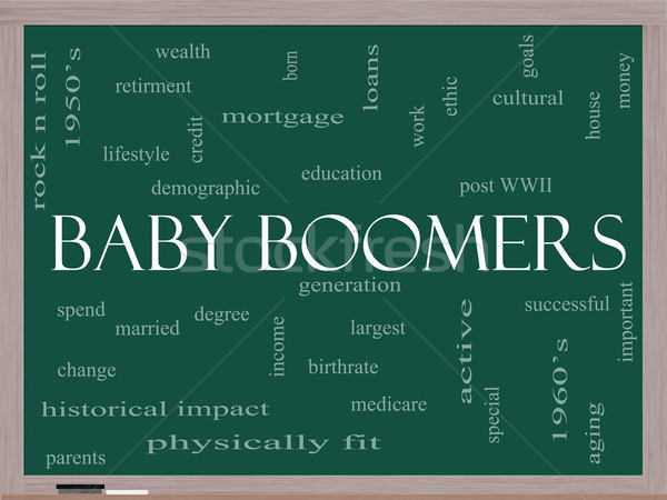 Baby Boomers Word Cloud Concept on a Blackboard Stock photo © mybaitshop