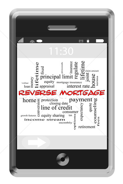 Reverse Mortgage Word Cloud Concept on Touchscreen Phone Stock photo © mybaitshop
