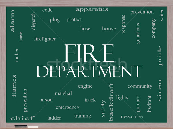Fire Department Word Cloud Concept on a Blackboard Stock photo © mybaitshop
