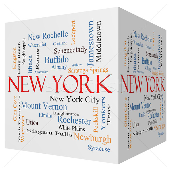 New York State 3D cube Word Cloud Concept Stock photo © mybaitshop