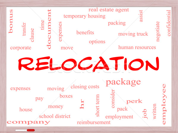 Relocation Word Cloud Concept on a Whiteboard Stock photo © mybaitshop