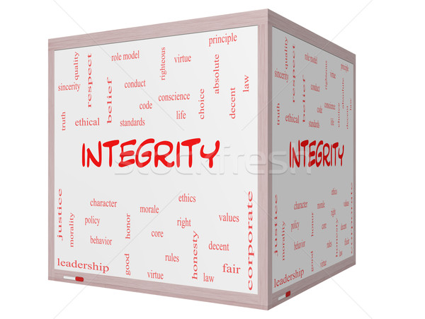 Integrity Word Cloud Concept on a 3D cube Whiteboard Stock photo © mybaitshop