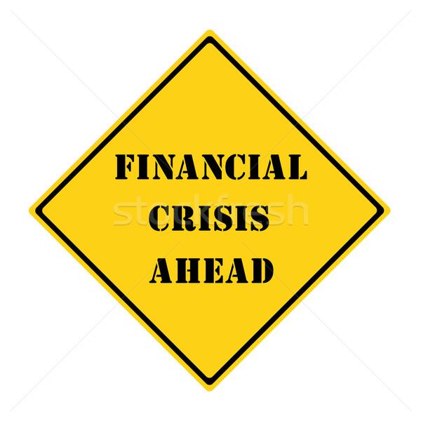 Finansal kriz önde imzalamak sarı siyah elmas Stok fotoğraf © mybaitshop