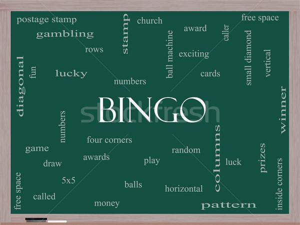 Bingo woordwolk Blackboard groot nummers Stockfoto © mybaitshop