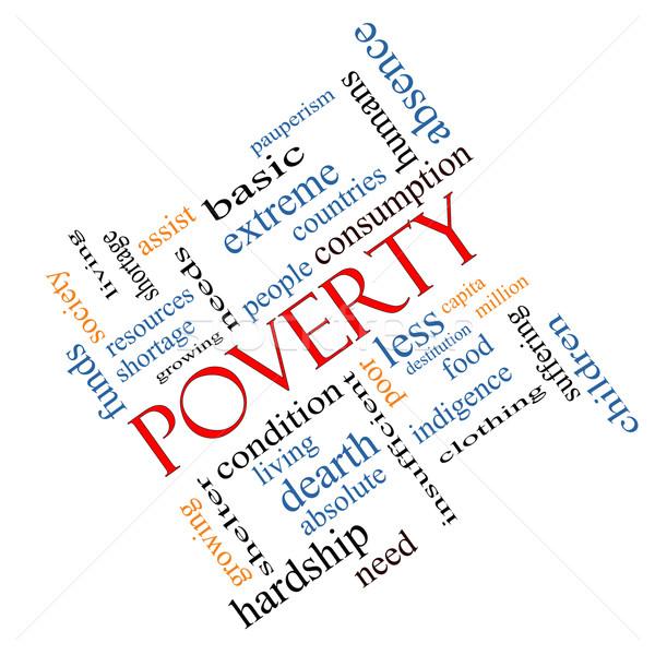 Armoede woordwolk groot arme voorwaarde mensen Stockfoto © mybaitshop
