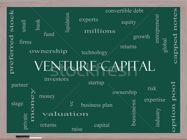 Venture Capital Word Cloud Concept on a Blackboard Stock photo © mybaitshop