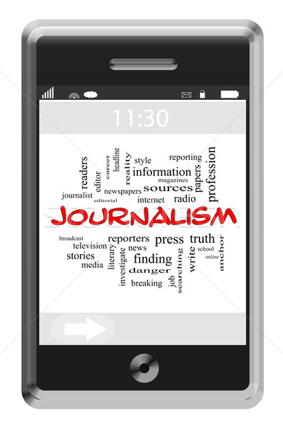Journalsim Word Cloud Concept on Touchscreen Phone Stock photo © mybaitshop
