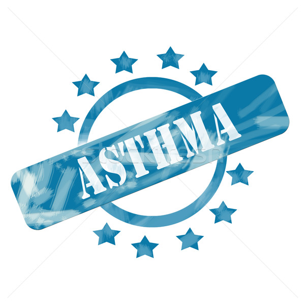 Blue Weathered Asthma Stamp Circle and Stars design Stock photo © mybaitshop