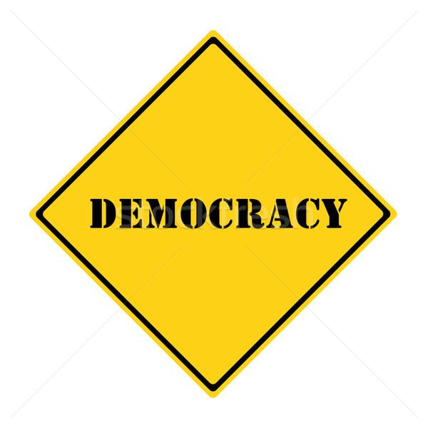 Stock fotó: Demokrácia · felirat · citromsárga · fekete · gyémánt · alakú