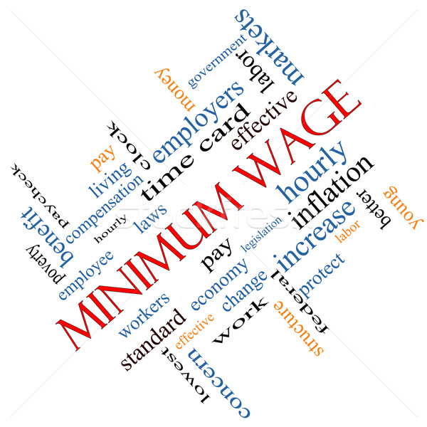 Minimum Wage Word Cloud Concept Angled Stock photo © mybaitshop