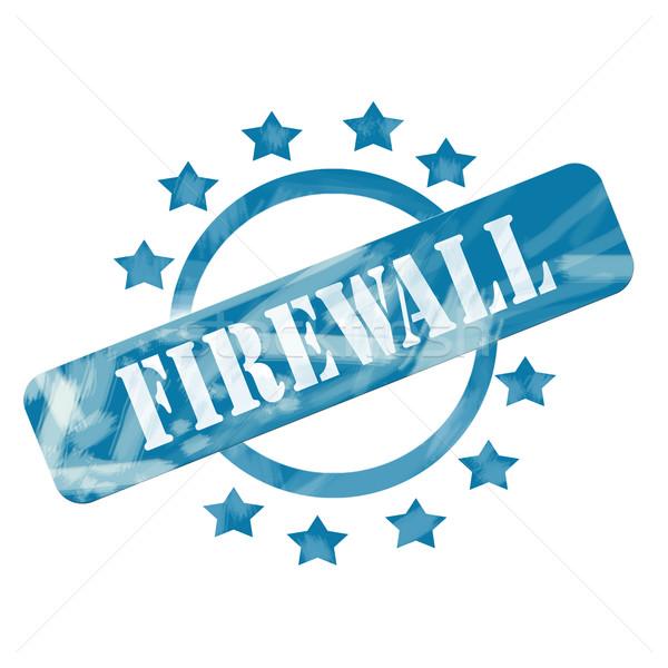 Blue Weathered Firewall Stamp Circle and Stars design Stock photo © mybaitshop