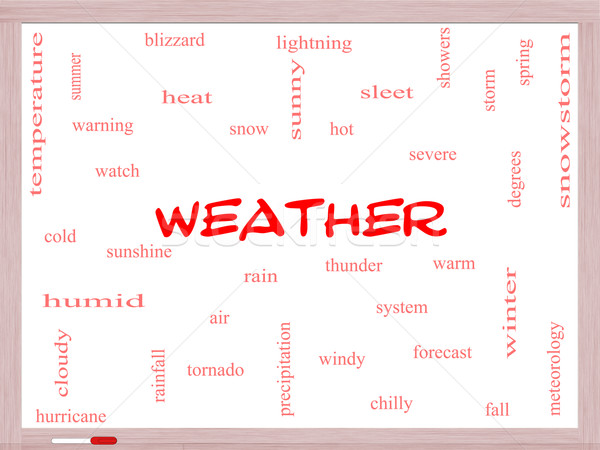 Weather Word Cloud Concept on a Whiteboard Stock photo © mybaitshop