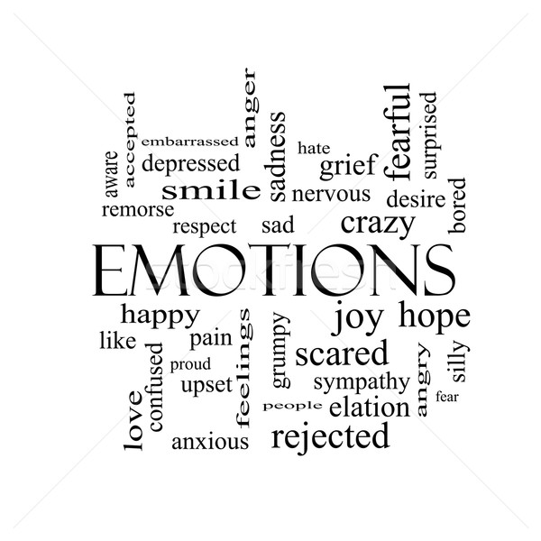 Emoties woordwolk zwart wit groot triest gelukkig Stockfoto © mybaitshop