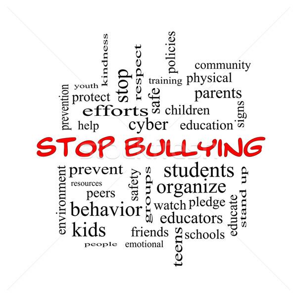 Stop megfélemlítés szófelhő piros nagyszerű diákok Stock fotó © mybaitshop