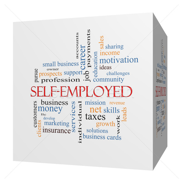 Self-Employed 3D cube Word Cloud Concept Stock photo © mybaitshop