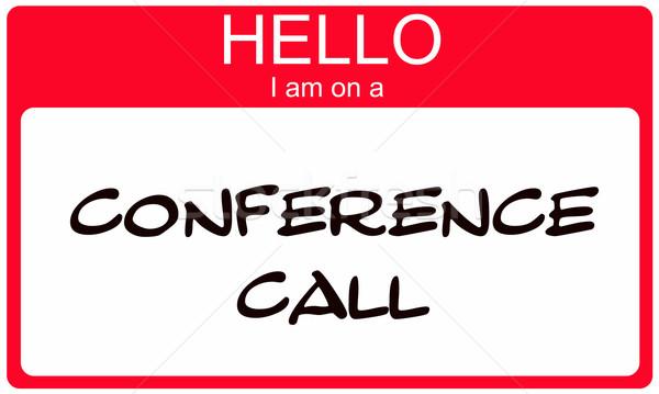 Piros hello délelőtt konferenciahívás névtábla matrica Stock fotó © mybaitshop