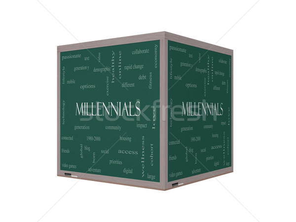 Millennials 3D Word Cloud Concept on a Blackboard Stock photo © mybaitshop