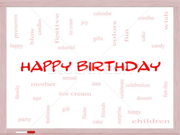 Foto stock: Feliz · aniversário · nuvem · da · palavra · presentes · bolo