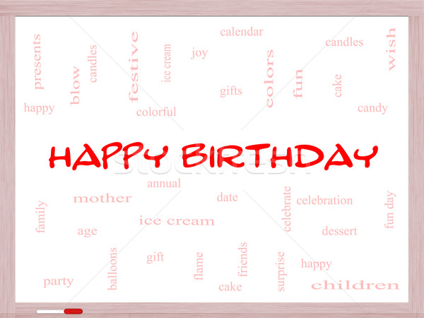 Happy Birthday Word Cloud Concept on a Whiteboard Stock photo © mybaitshop