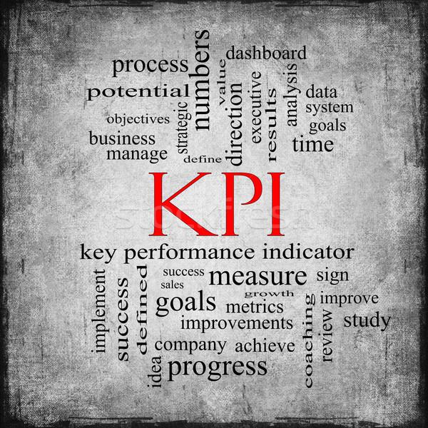 KPI Word Cloud Gray Grunge Concept Stock photo © mybaitshop
