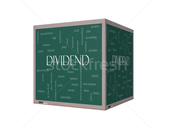 Dividend Word Cloud Concept on a 3D Blackboard Stock photo © mybaitshop