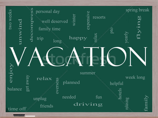 Vacation Word Cloud Concept on a Blackboard Stock photo © mybaitshop