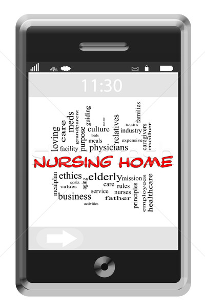 Nursing Home Word Cloud Concept on Touchscreen Phone Stock photo © mybaitshop