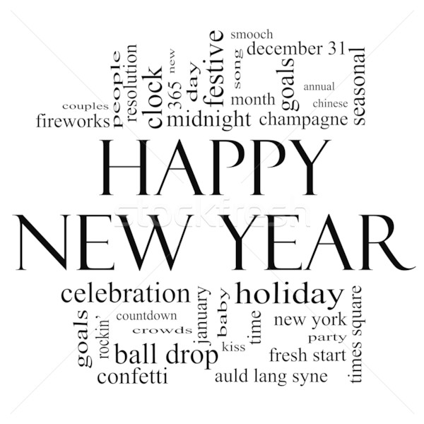 Happy New Year Word Cloud in Black and White Stock photo © mybaitshop