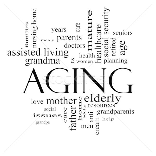 Aging Word Cloud Concept in black and white Stock photo © mybaitshop