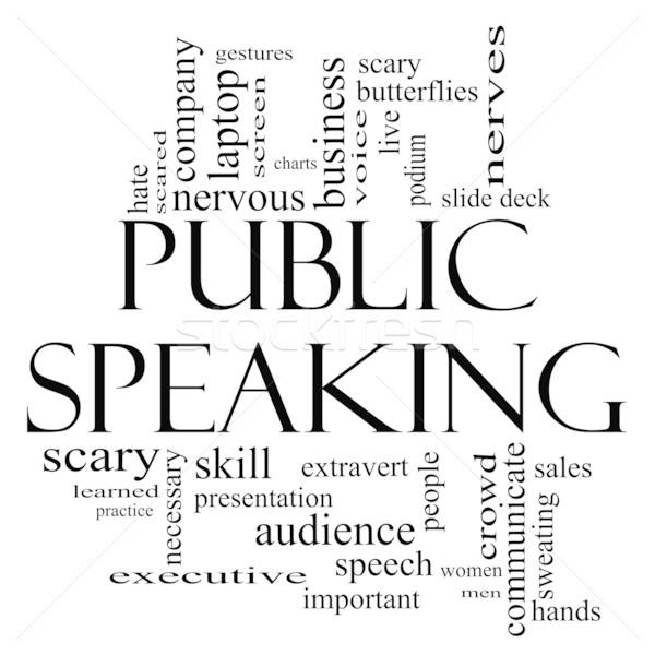 Public Speaking Word Cloud Concept in Black and White Stock photo © mybaitshop