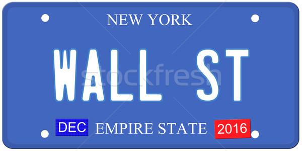Wall Street Нью-Йорк номерной знак имитация декабрь 2016 Сток-фото © mybaitshop