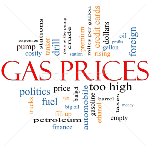 газ цены слово облако автомобиль насос Сток-фото © mybaitshop