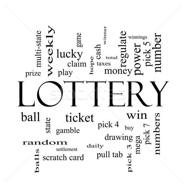 лотерея слово облако черно белые играть выиграть Сток-фото © mybaitshop