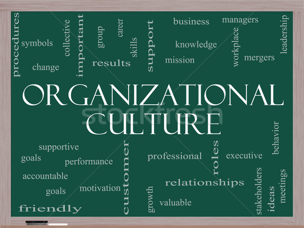Organizational Culture Word Cloud Concept on a Blackboard Stock photo © mybaitshop