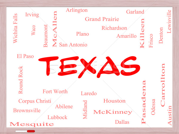Texas State Word Cloud Concept on a Whiteboard Stock photo © mybaitshop