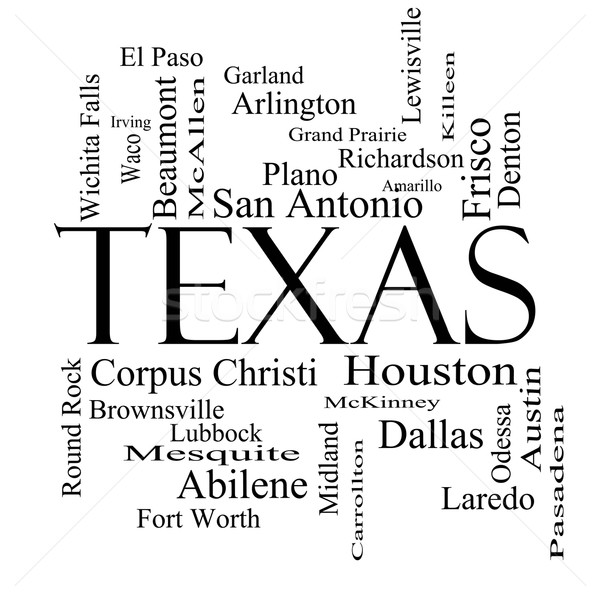 Texas State Word Cloud Concept in black and white Stock photo © mybaitshop