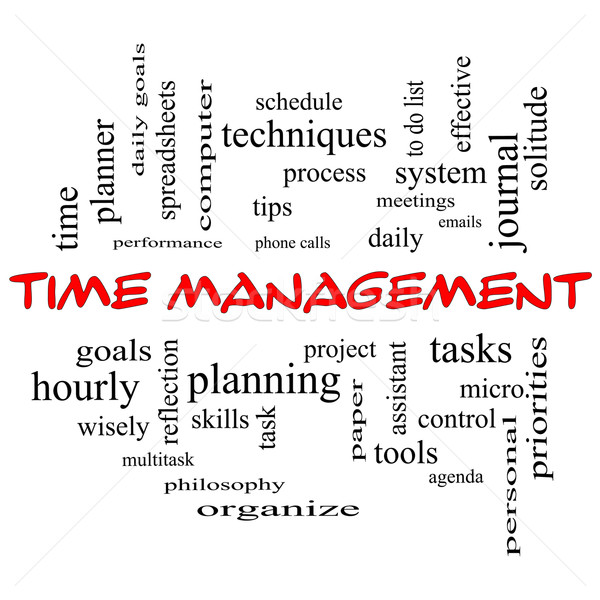 Time Management Word Cloud Concept in red caps Stock photo © mybaitshop