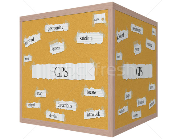 GPS 3D cube Corkboard Word Concept Stock photo © mybaitshop