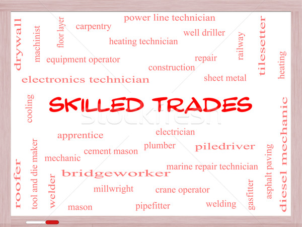 Skilled Trades Word Cloud Concept on a Whiteboard Stock photo © mybaitshop