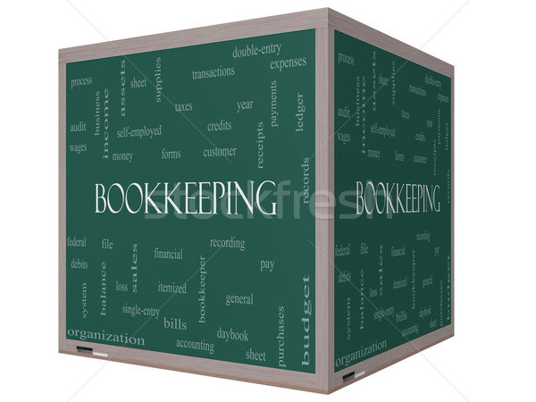 Bookkeeping Word Cloud Concept on a 3D cube Blackboard Stock photo © mybaitshop