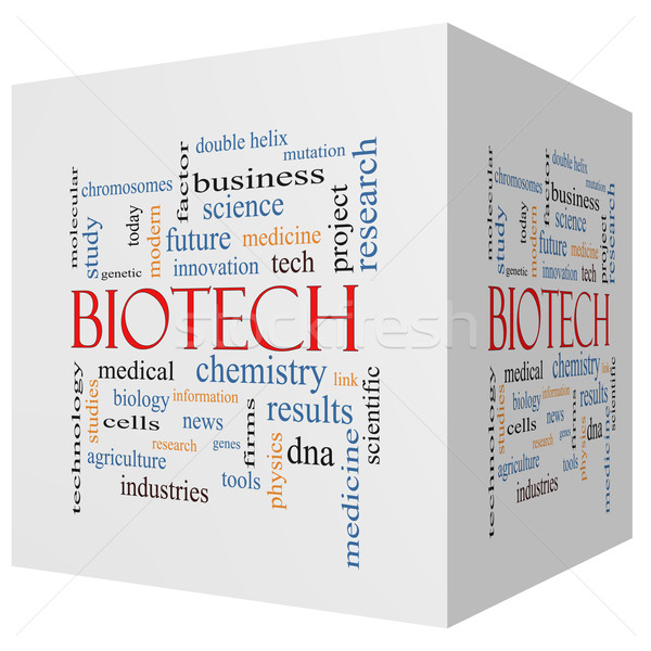 Biyoteknoloji 3D küp kelime bulutu muhteşem tıbbi Stok fotoğraf © mybaitshop